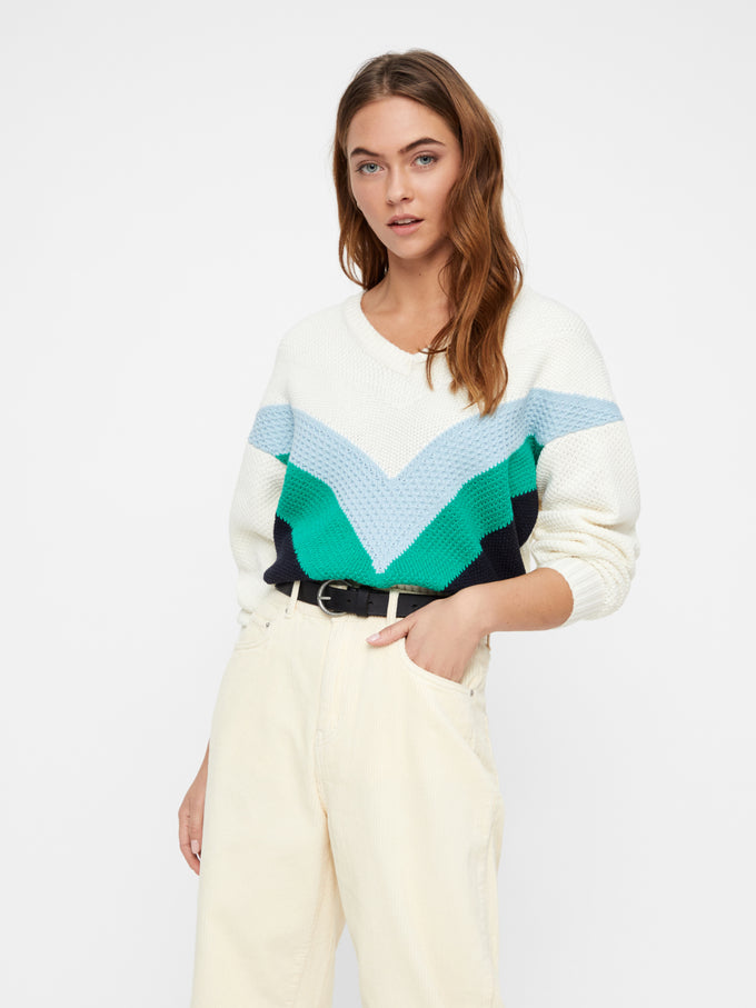V-NECK COLOURBLOCK SWEATER SNOW WHITE