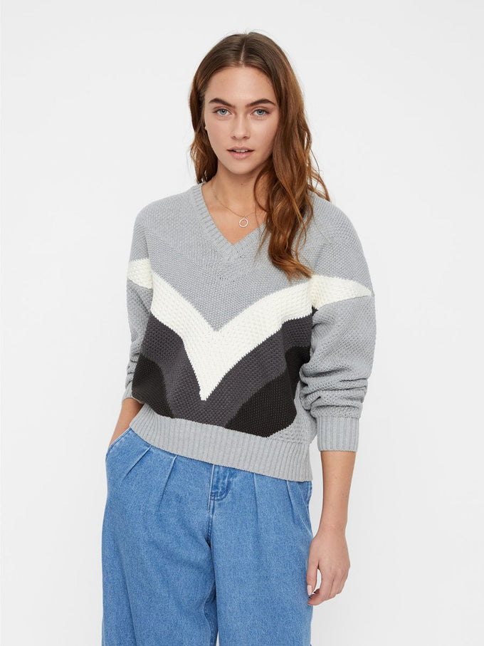 V-NECK COLOURBLOCK SWEATER LIGHT GREY MELANGE