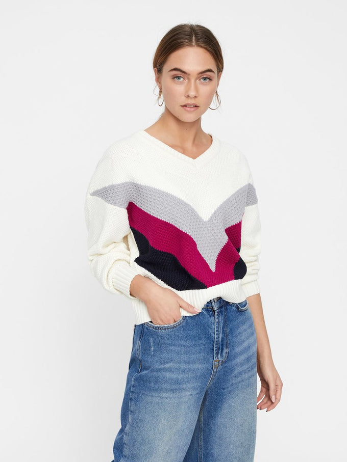 V-NECK COLOURBLOCK SWEATER SNOW WHITE STRIPES