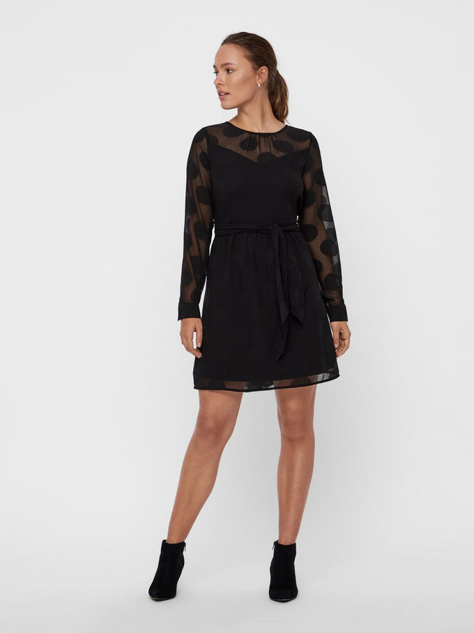 LONG SLEEVE DRESS WITH POLKA DOTS BLACK