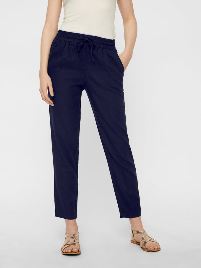 LINEN-BLEND PANTS NIGHT SKY