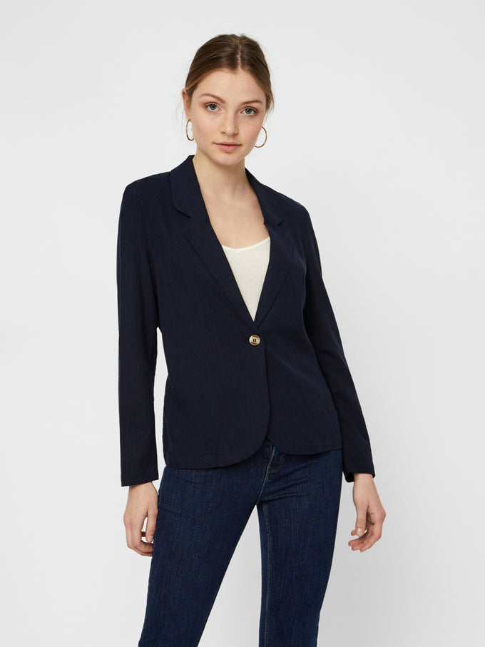 LINEN-BLEND BLAZER NIGHT SKY