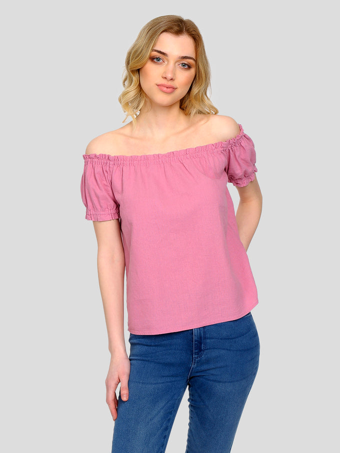 FINAL SALE – LINEN-BLEND OFF-THE-SHOULDER BLOUSE FOXGLOVE