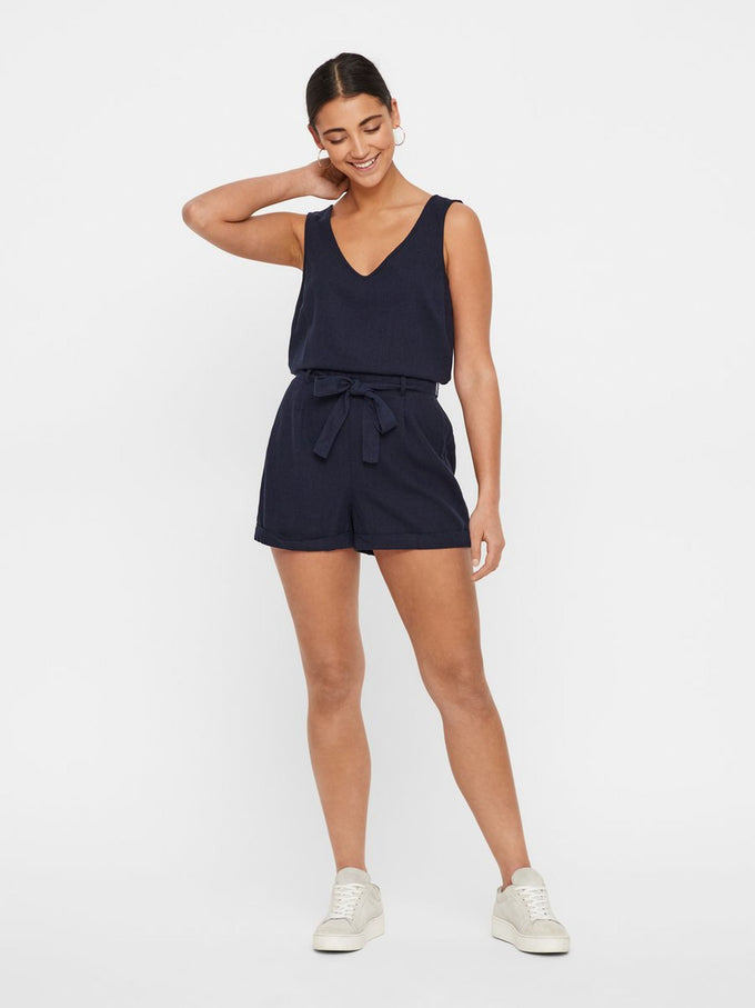 LINEN-BLEND ROMPER NIGHT SKY