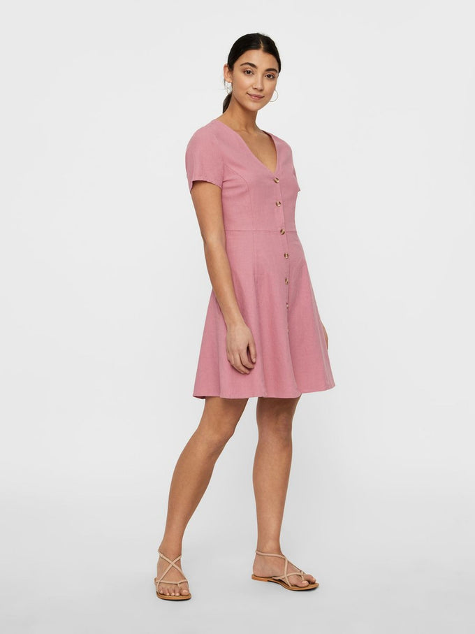 LINEN-BLEND DRESS FOXGLOVE