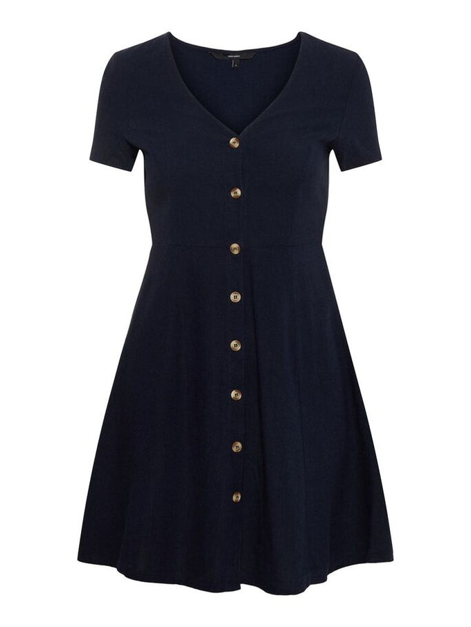 LINEN-BLEND DRESS NIGHT SKY