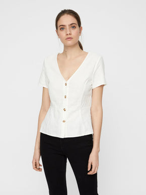 FINAL SALE – LINEN-BLEND BLOUSE