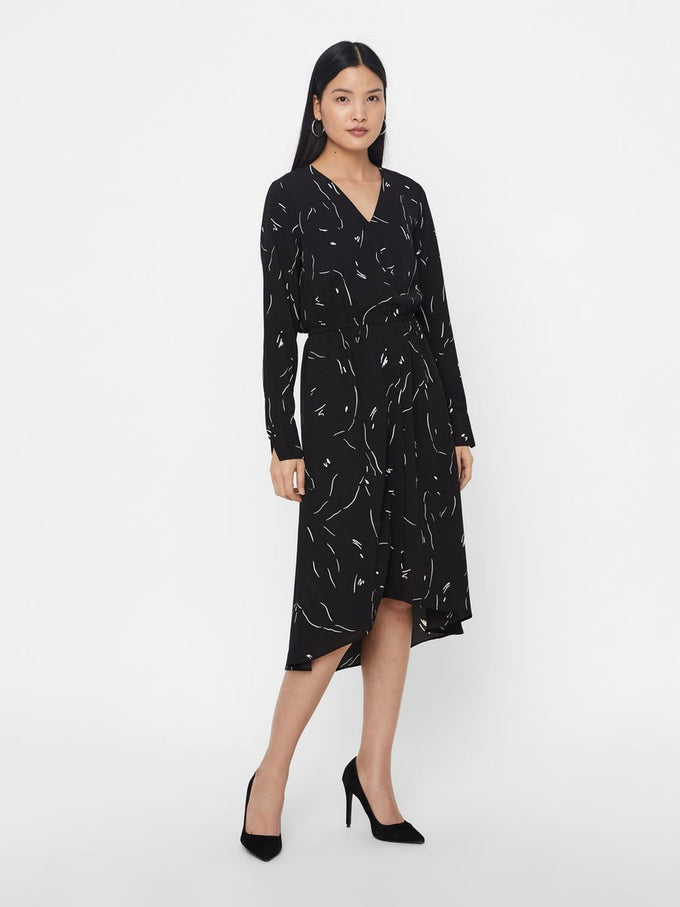 RECYCLED-POLYESTER CREPE DRESS BLACK