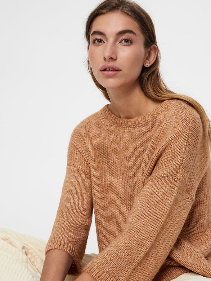 RECYCLED-POLYESTER LOOSE SWEATER INDIAN TAN