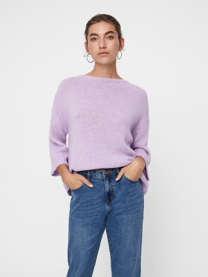 RECYCLED-POLYESTER LOOSE SWEATER LAVENDULA