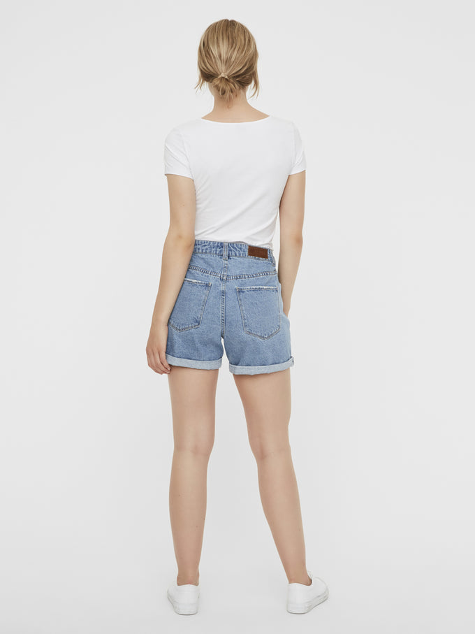 NINETEEN DENIM MOM SHORTS LIGHT BLUE DENIM