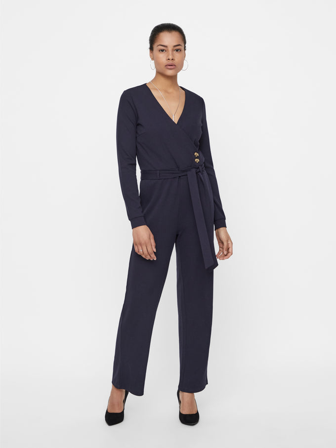 Wrap Front Long Sleeve Jumpsuit NIGHT SKY