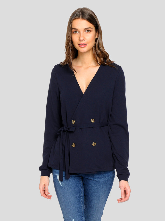 LONG SLEEVE BLOUSE WITH BUTTON DETAILS NIGHT SKY