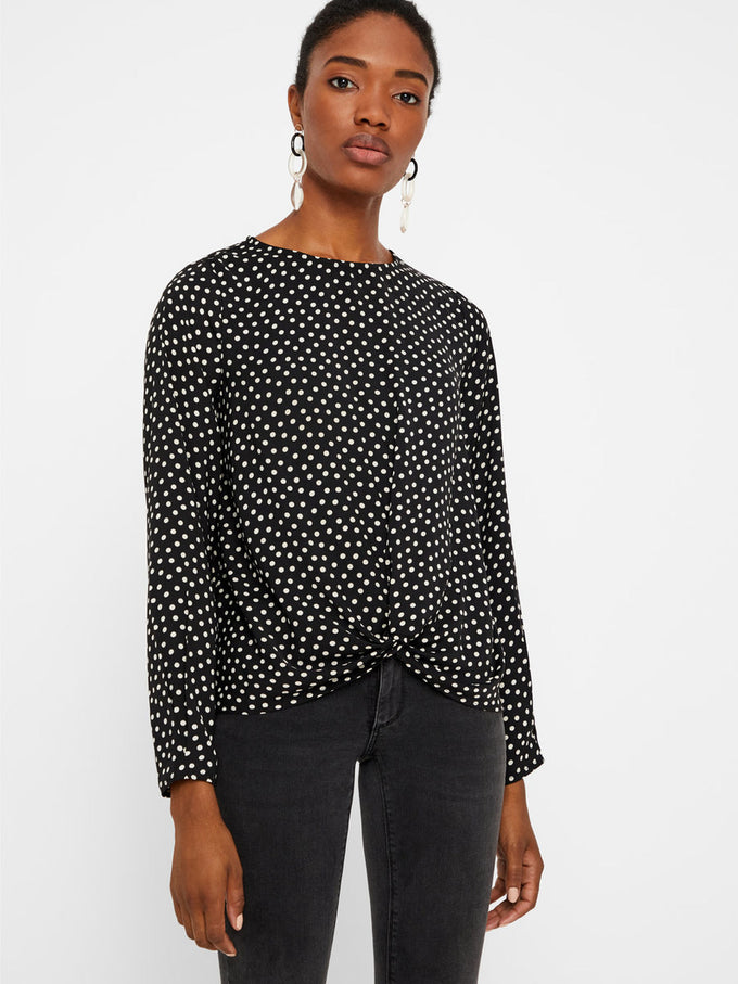DOT PRINT BLOUSE WITH KNOT DETAIL WINETASTING