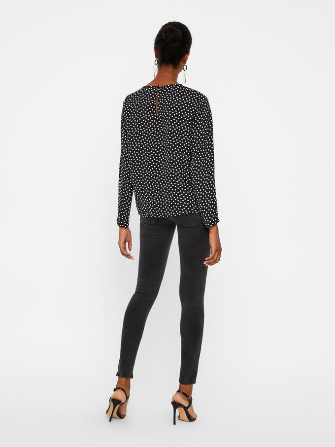 DOT PRINT BLOUSE WITH KNOT DETAIL BLACK