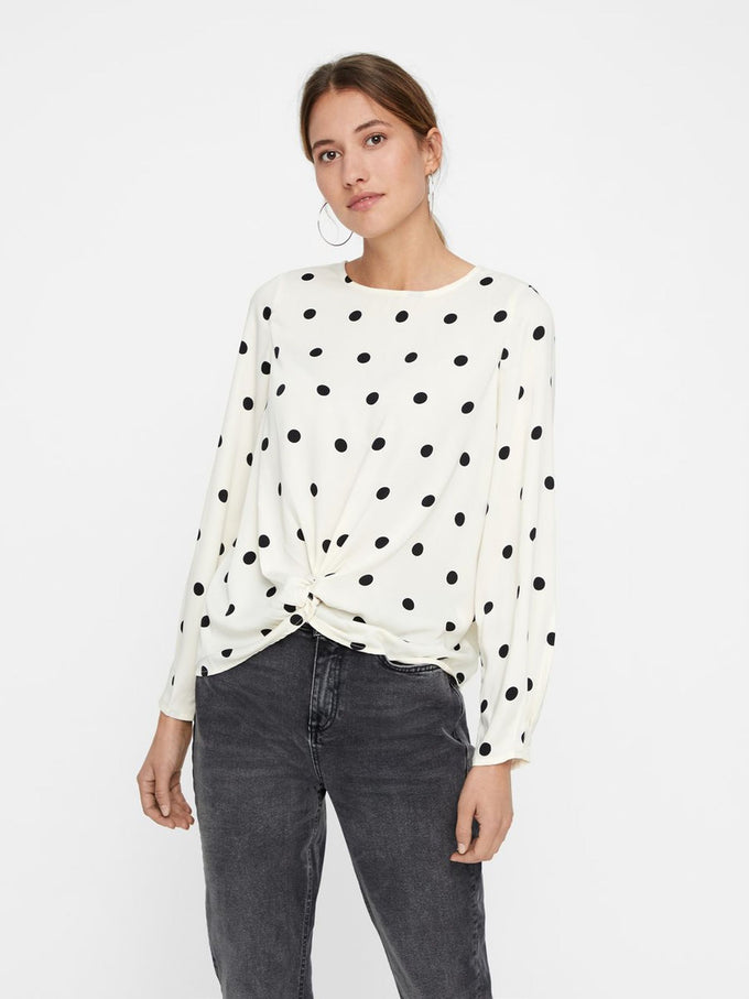 DOT PRINT BLOUSE WITH KNOT DETAIL EGGNOG