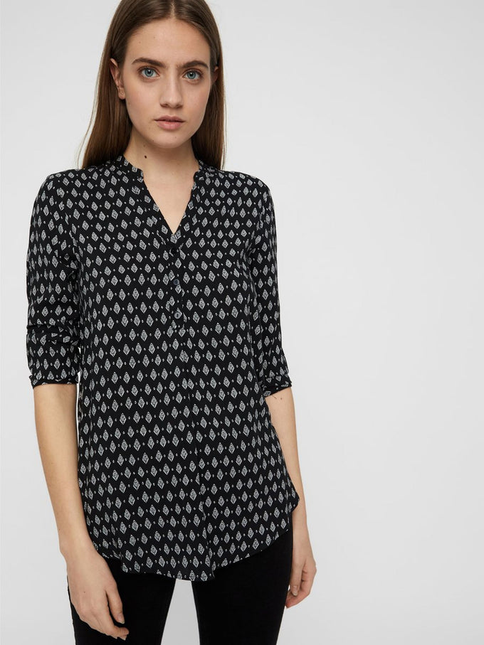 3/4 SLEEVE PRINTED BLOUSE BLACK PRINTS