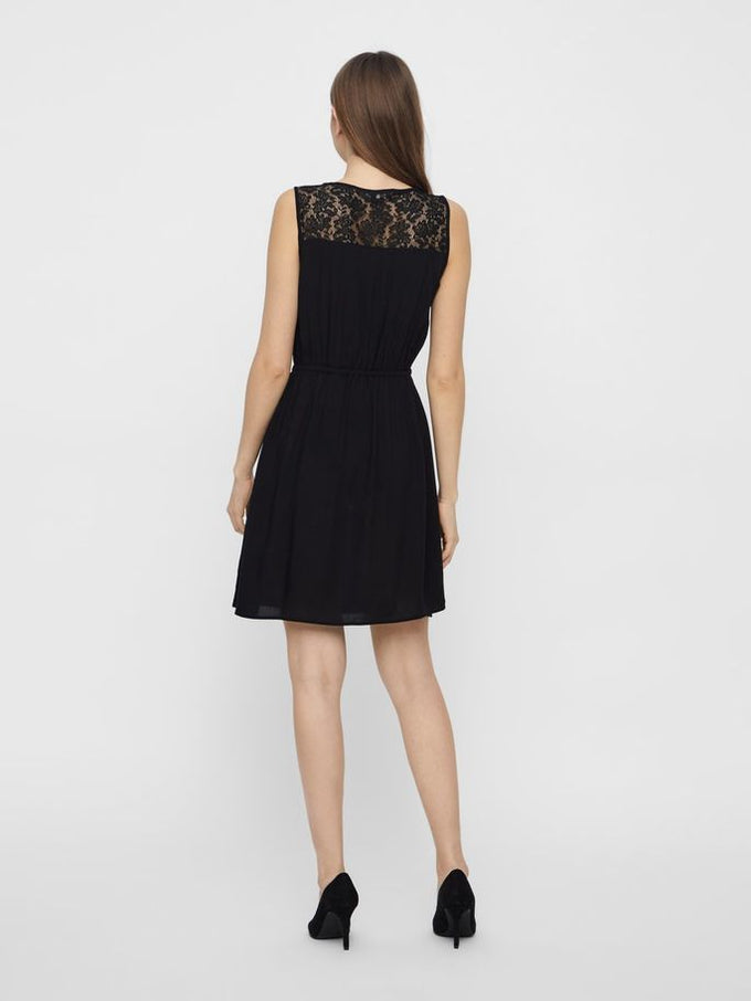 Boca sleveless dress with lace BLACK
