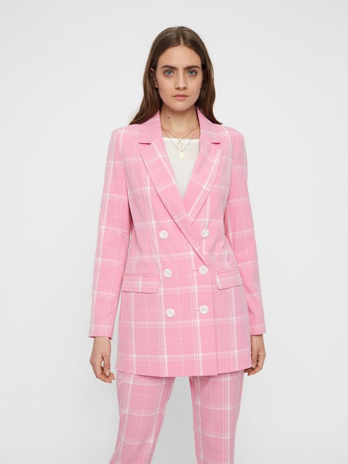 LONG CHECKERED BLAZER PRISM PINK