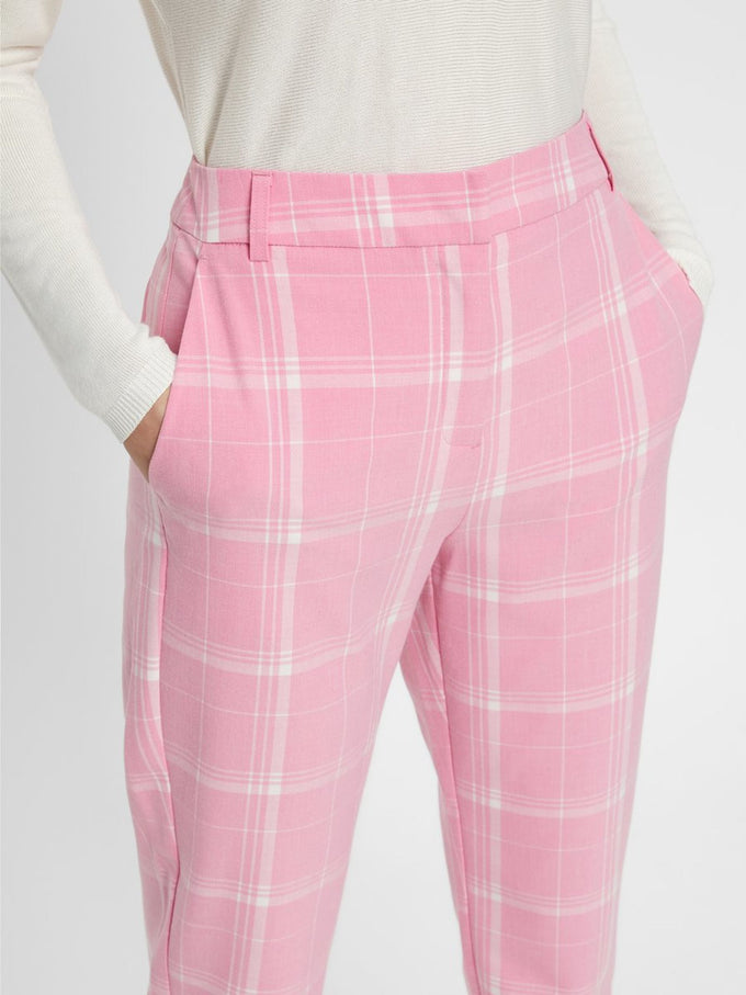 PINK CHECKERED DRESS PANTS PRISM PINK