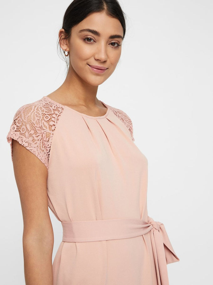 JERSEY DRESS WITH LACE MISTY ROSE