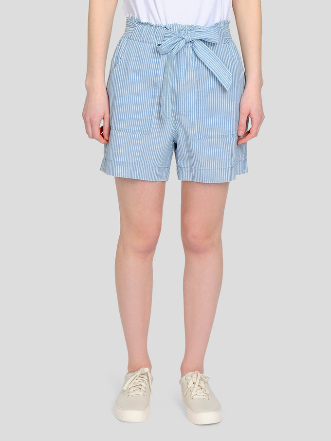 STRIPED CHAMBRAY SHORTS LIGHT BLUE DENIM