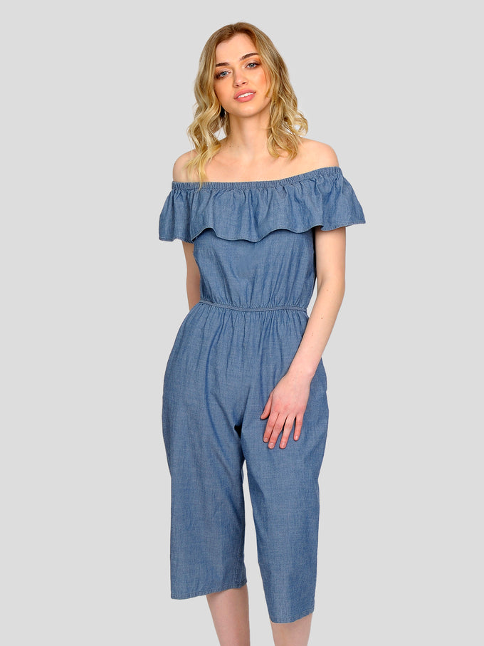 OFF-THE-SHOULDER CHAMBRAY JUMPSUIT DARK BLUE DENIM
