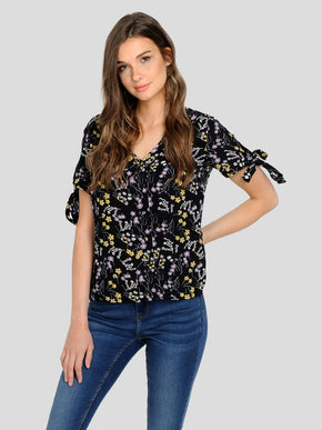 FLORAL BLOUSE WITH TIE DETAILS