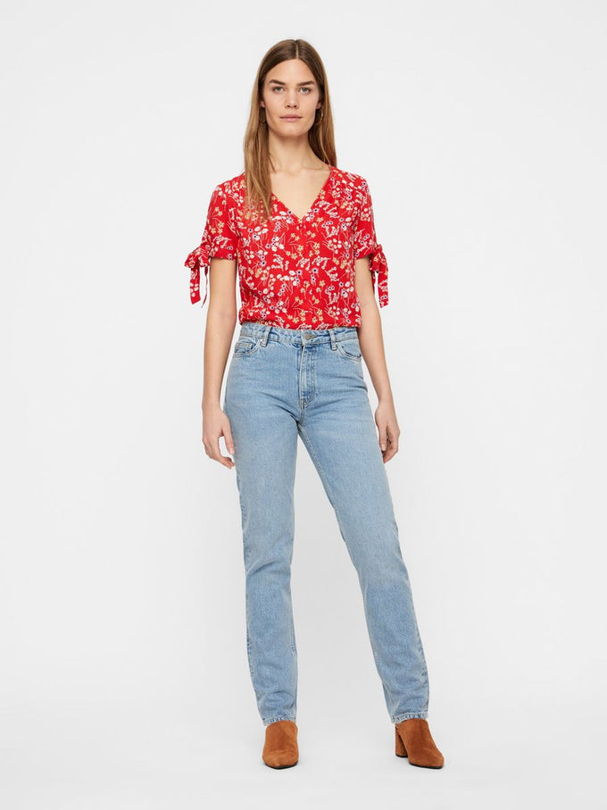 FINAL SALE – FLORAL BLOUSE WITH TIE DETAILS FIERY RED