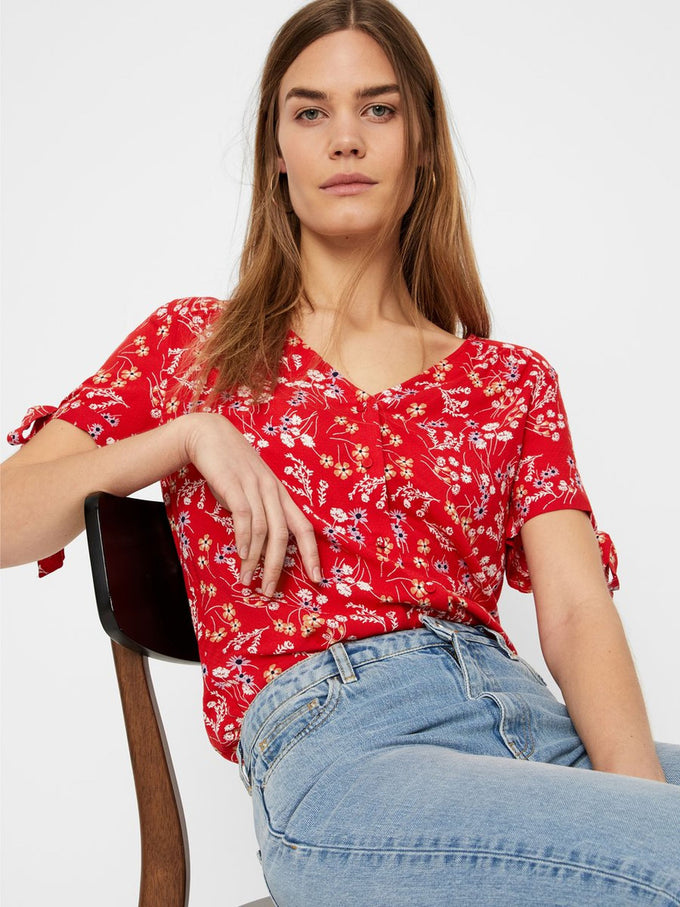 FLORAL BLOUSE WITH TIE DETAILS FIERY RED