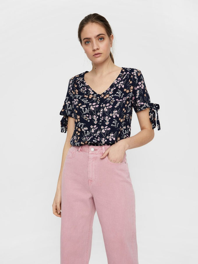 FLORAL BLOUSE WITH TIE DETAILS NIGHT SKY