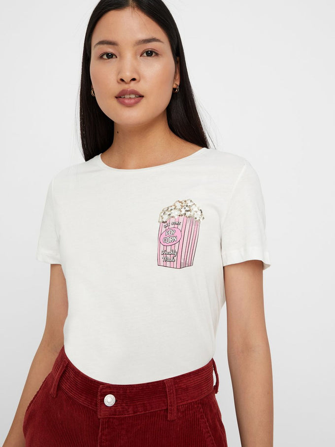 T-SHIRT WITH SEQUINED DETAILS SNOW