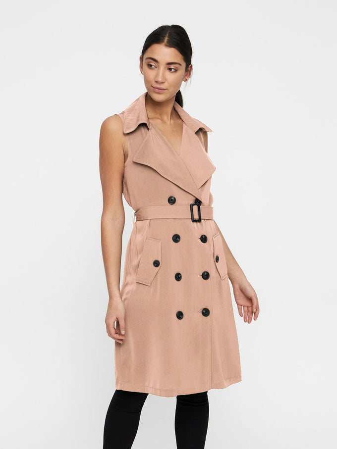 SLEEVELESS TRENCH COAT CAFÉ AU LAIT