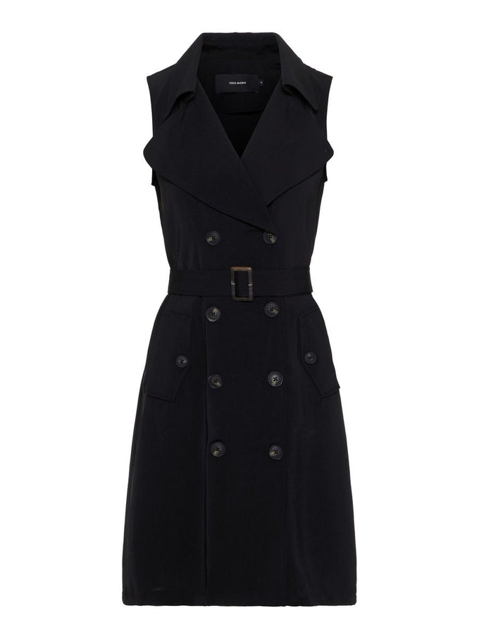 SLEEVELESS TRENCH COAT BLACK