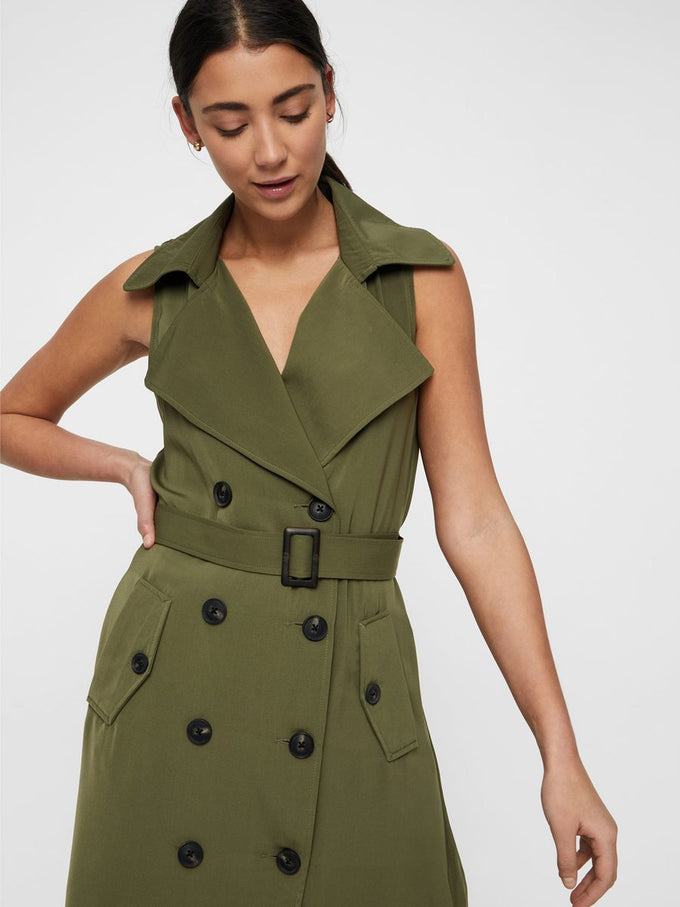 SLEEVELESS TRENCH COAT IVY GREEN