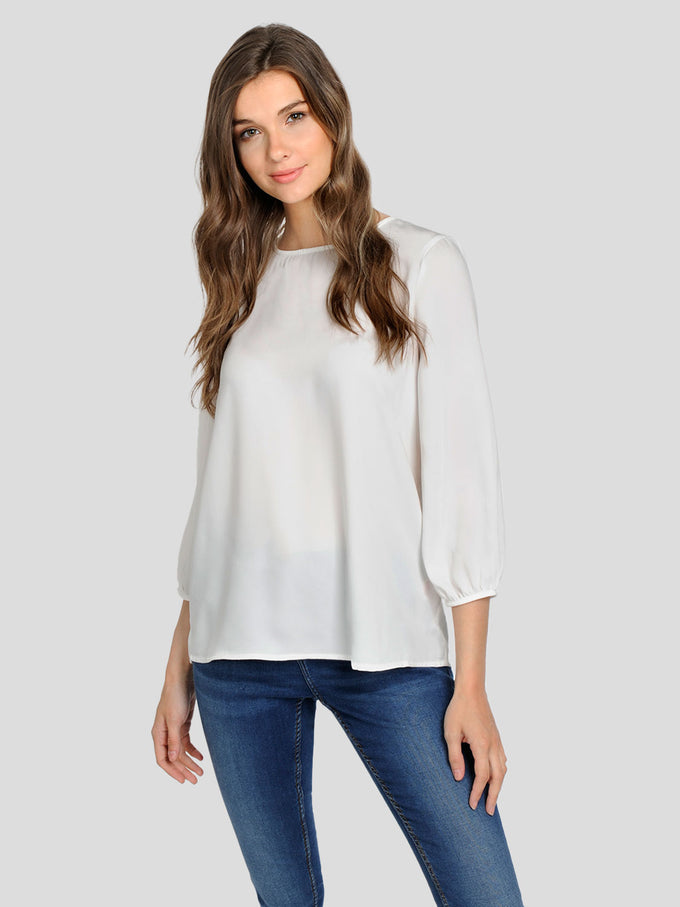 3/4 SLEEVE BLOUSE WITH DECORATIVE BUTTONS SNOW WHITE