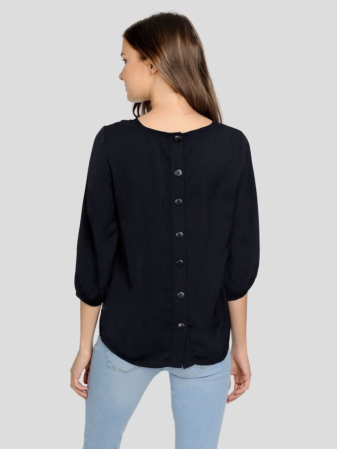 3/4 SLEEVE BLOUSE WITH DECORATIVE BUTTONS NIGHT SKY