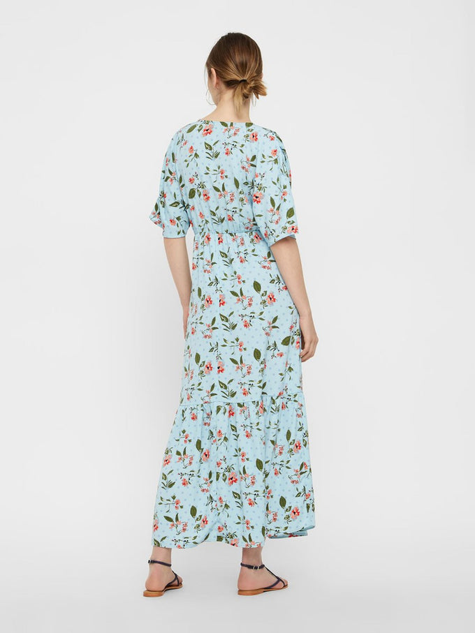 FINAL SALE – MAXI FLORAL DRESS COOL BLUE
