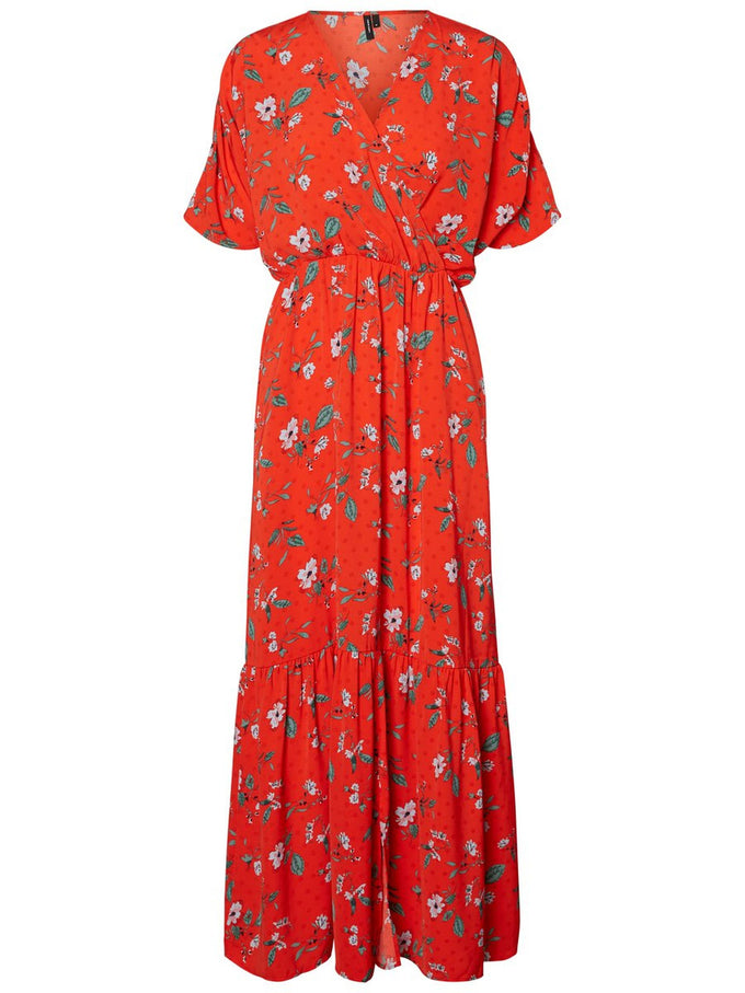 FINAL SALE – MAXI FLORAL DRESS FIERY RED