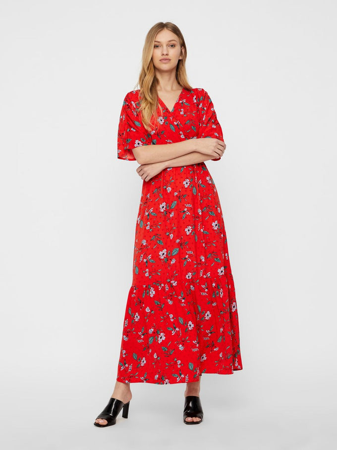 MAXI FLORAL DRESS FIERY RED