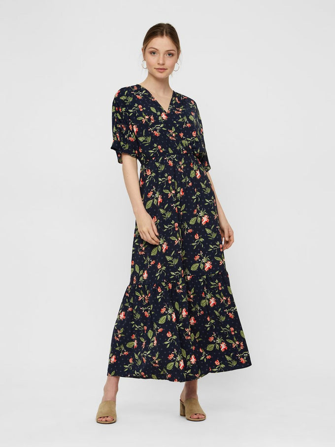 FINAL SALE – MAXI FLORAL DRESS NIGHT SKY