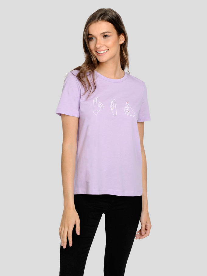 T-SHIRT À IMPRIMÉ LOVE YOURSELF LILAS