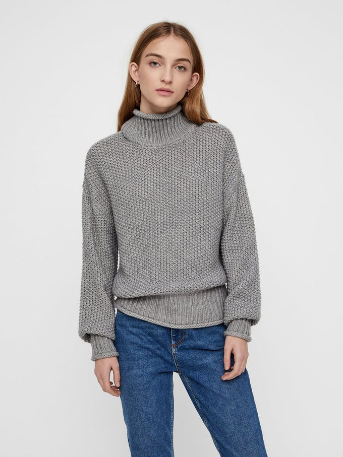 HIGH-NECK LOOSE SWEATER LIGHT GREY MELANGE