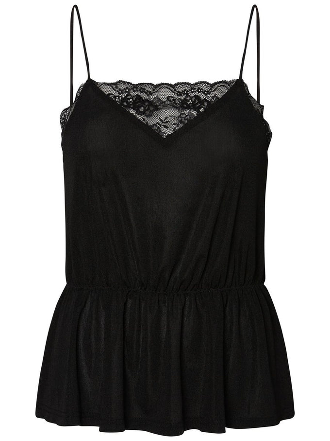 SILKY CAMI WITH LACE DETAIL BLACK