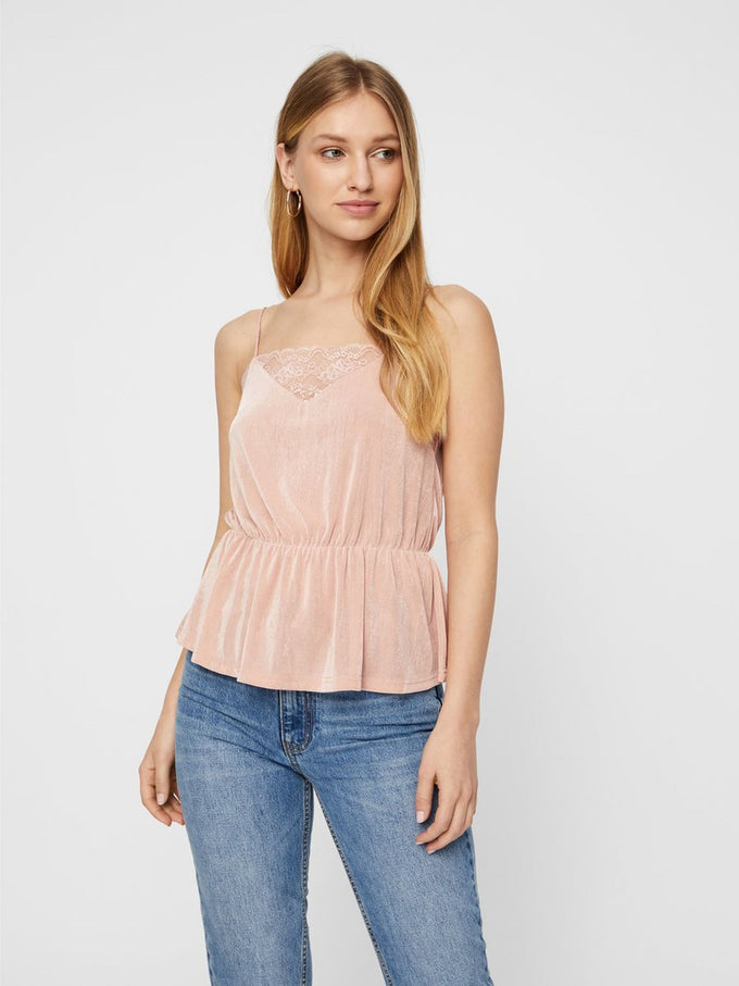 SILKY CAMI WITH LACE DETAIL MISTY ROSE
