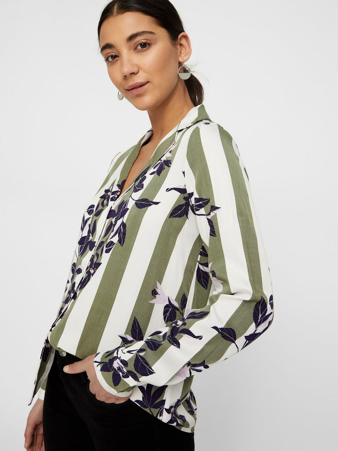 Vilja button-up printed blouse LAUREL WREATH