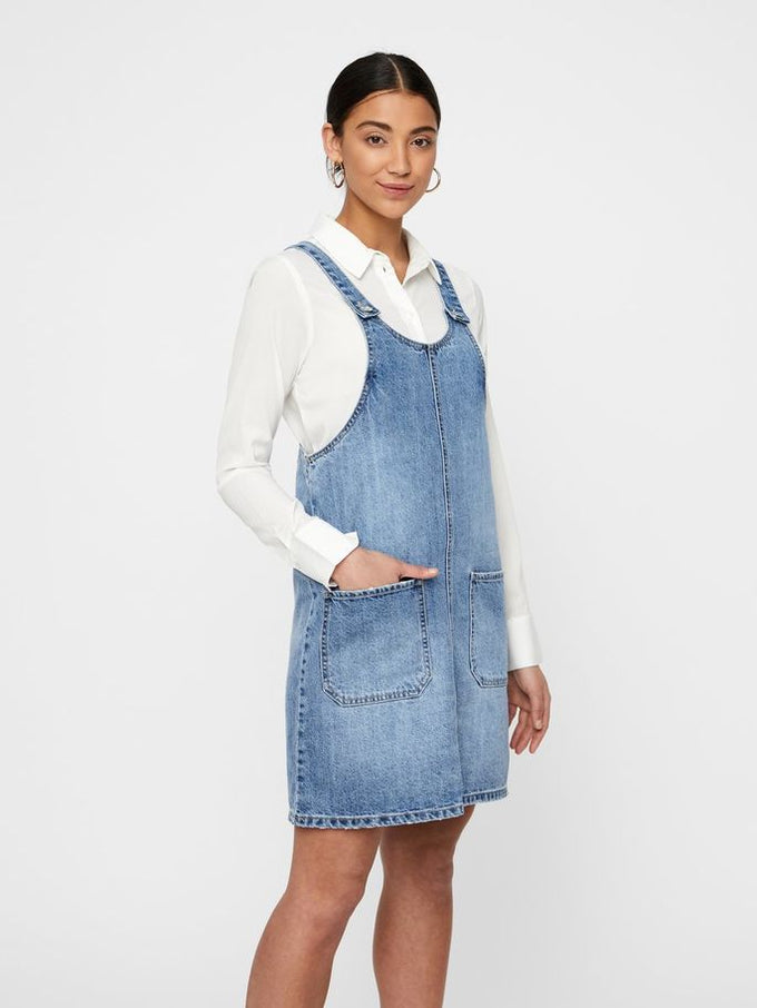 DENIM OVERALL-DRESS MEDIUM BLUE DENIM