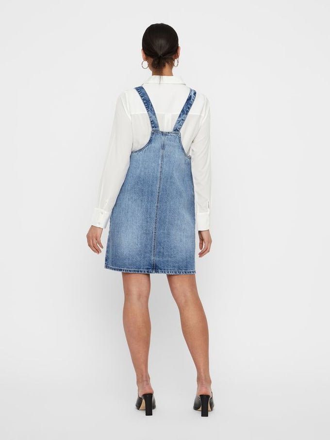 ROBE-SALOPETTE EN DENIM BLEU MOYEN