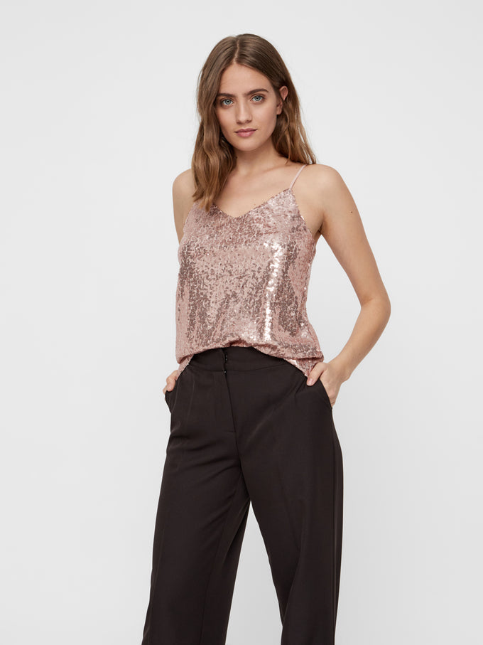 FINAL SALE – SILVYA SEQUINED CAMI MISTY ROSE