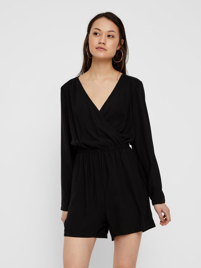 LONG SLEEVE ROMPER BLACK